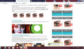 Site ecommerce lentilles de contact couleur